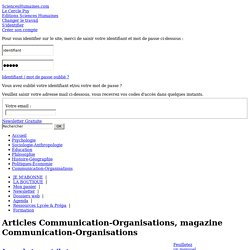 Magazine communication, revue organisations, article communication, articles organisations, Sciences Humaines