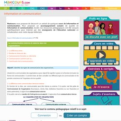 La communication interne et externe dans les organisations, Soutien scolaire, Cours Information et communication, Maxicours