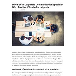Edwin Seah Corporate Communication Specialist Offer Positive Vibes to Participants