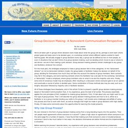 Group Decision Making: A Nonviolent Communication Perspective