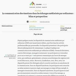 La communication des émotions dans les échanges médiatisés par ordinateur: bilan et perspectives