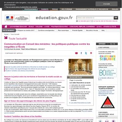 Communication en Conseil des ministres : les politiques publiques contre les inégalités à l'École