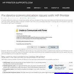 Fix device communication issues with HP Printer
