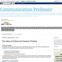 Communication Professor: The Value of Critical and Creative Thinking