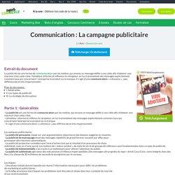 Cours de Communication : La campagne publicitaire