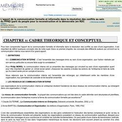 L'apport de la communication formelle et informelle dans la résolution des conflits au sein du PPRD (parti du peuple pour la reconstruction et la démocratie )en RDC - Durcey NGIALA