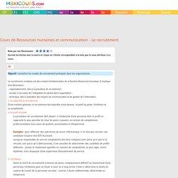Cours de Ressources humaines et communication - Le recrutement
