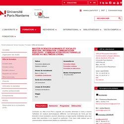 Master Sciences Humaines et Sociales<br>Mention : Information, Communication<br>Parcours : Communication Rédactionnelle Dédiée au Multimédia (CRDM )