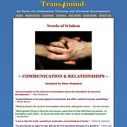 Words of Wisdom ~ Communication & Relationships