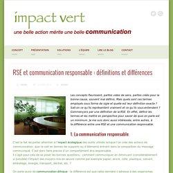 Définition de la RSE et définition de la communication responsable