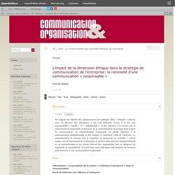 L'impact de la dimension éthique dans la stratégie de communication de l'entreprise: la nécessité d'une communication «responsable»