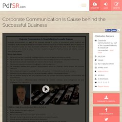 Corporate Communication Is Cause behind the Successful Business