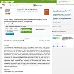 Computers in Human Behavior : Social anxiety and technology: Fac