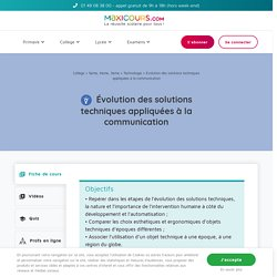 Évolution des solutions techniques appliquées à la communication - Cours de Technologie avec Maxicours - Collège