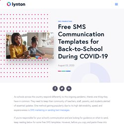 Free SMS Communication Templates for Back-to-School During COVID-19