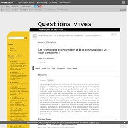Les technologies de l'information et de la communication: un objet transitionnel?