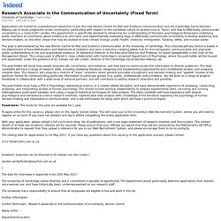 Research Associate in the Communication of Uncertainty (Fixed Term) - Cambridge - Indeed Mobile