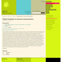 Digital mediation in museum communication - Research - Roskilde University