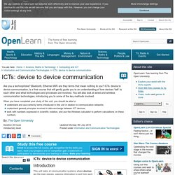 ICTs: device to device communication