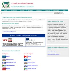 Canada Communication Studies University Programs