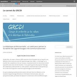 La didactique professionnelle : un cadre pour penser la durabilité des apprentissages info-communicationnels