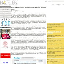 Crisis Communications in 140 characters or less. - Tuesday, 9th November 2010 at 4Hoteliers