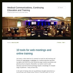 Medical Communications, Continuing Education and Training
