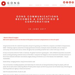 Gong Communications Becomes a Certified B Corporation in UK