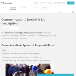 Communications Specialist job description template