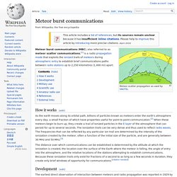 Meteor burst communications