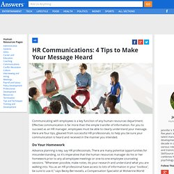 HR Communications: 4 Tips to Make Your Message Heard - HumanResources.Answers.com