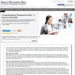 Communications Management Plan ~ A Step by Step Guide