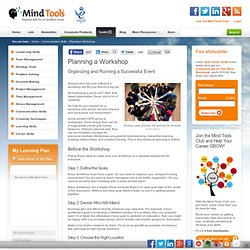 Planning and Running a Workshop - Communications Skills Training from MindTools.com