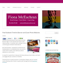 3 Personal Branding Tips For Your Facebook Timeline | Fiona McEachran