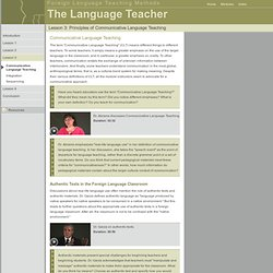 Foreign Language Teaching Methods: The Language Teacher