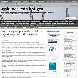 Communiqué à propos de l'article du Figaro magazine et de ses suites