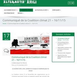 Communiqué de la Coalition climat 21 - 16/11/15 - Alternatiba Marseille
