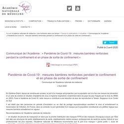 """Communiqué de l'Académie : """"Pandémie de Covid-19 : mesures barrières renforcées pendant le confinement et en phase de sortie de confinement"""""""
