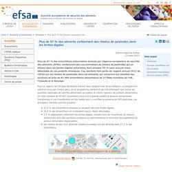 EFSA 12/03/15 Plus de 97 % des aliments contiennent des résidus de pesticides dans les limites légales