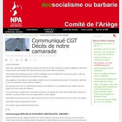 Communiqué CGT Décès de notre camarade