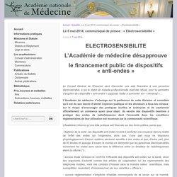 Le 5 mai 2014, communiqué de presse : «Electrosensibilité»