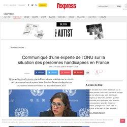 Communiqué d'une experte de l'ONU sur la situation des personnes handicapées en France