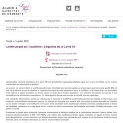 Communiqué de l'Académie : Séquelles de la Covid-19 – Académie nationale de médecine