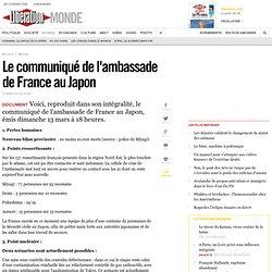 Le communiqué de l'ambassade de France au Japon