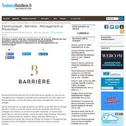 Communiqué Barrière: Management & Prévention