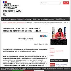 5 millions d'euros pour la précarité menstruelle en 2021 – 15.12.20