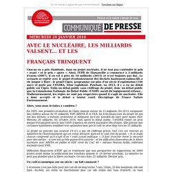 Communiqué de presse : Avec le nucléaire, les milliards valsent... Et les français trinquent