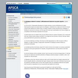 AFSCA 29/05/13 La Belgique obtient le statut «officiellement indemne de peste équine»