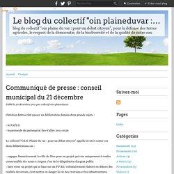 """Communiqué de presse : conseil municipal du 21 décembre - Le blog du collectif """"oin plaineduvar : pour un débat citoyen"""""""