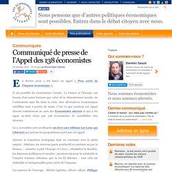 Communiqué de presse de l'Appel des 138 économistes